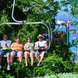 Ride the Rainforest Sky Explorer, a state of the art chair lift that soars 600 feet above the tree tops.Transporting you to arrive at the peak of Mystic Mountain high above Ocho Rios.