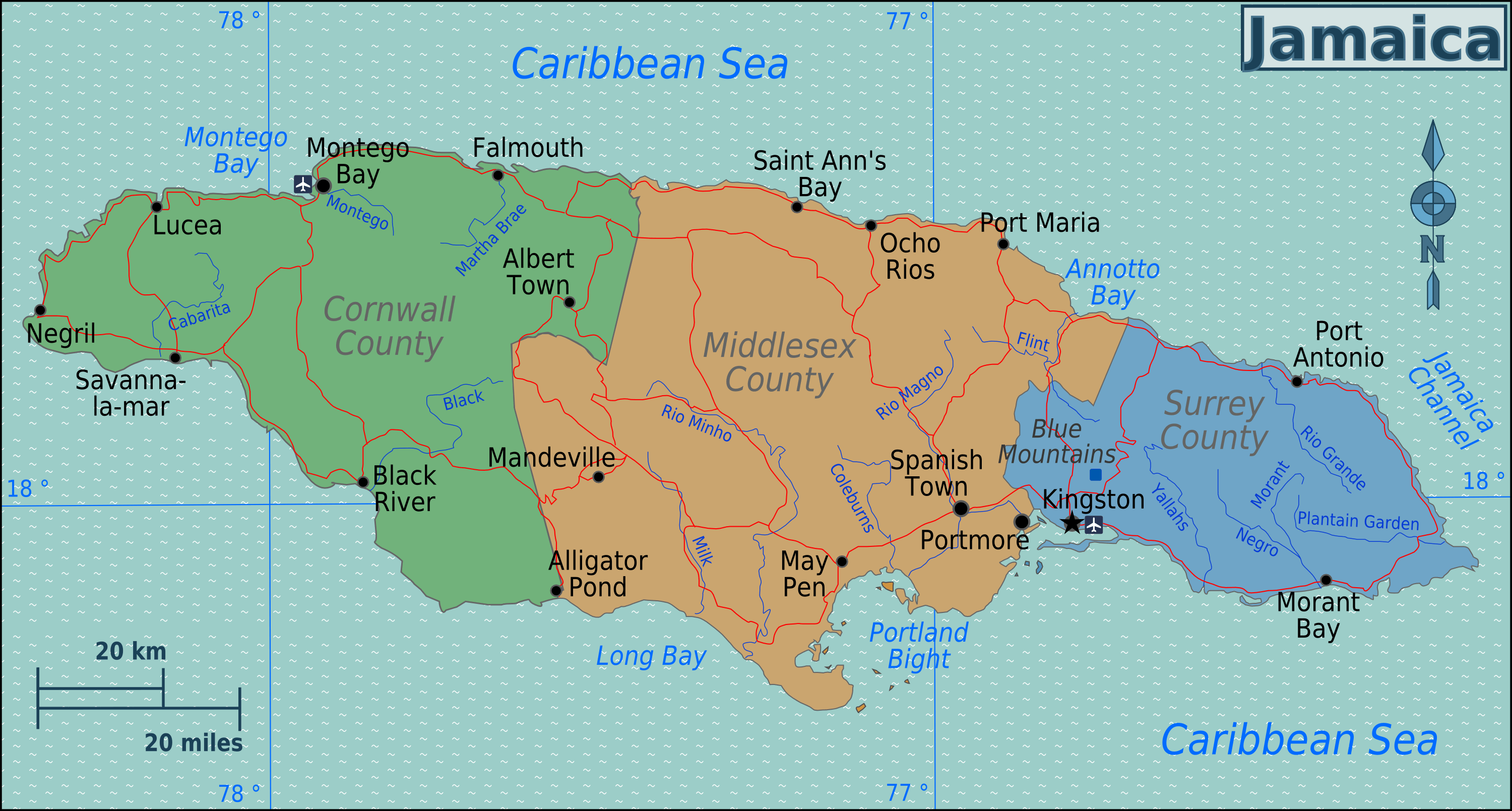 River Map Jamaica