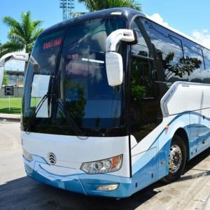 60 seater luxury bus blue and white